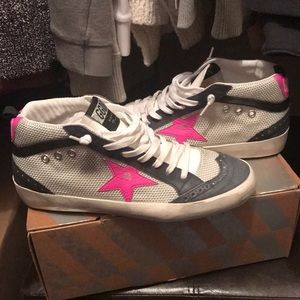 NIB GOLDEN GOOSE MID/STAR ICE NET PINK FLUO STAR